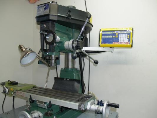 2 Axis Easson glass kit on a round column benchtop mill